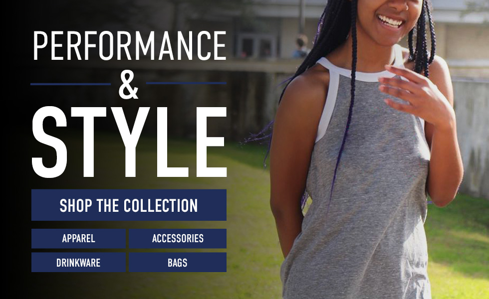 Picture of woman. Click to shop the Performance & Style Collection | Apparel | Accessories | Drinkware | Bags.